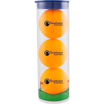 3 Ball Clear Tube with Volvik Vivid Golf Balls