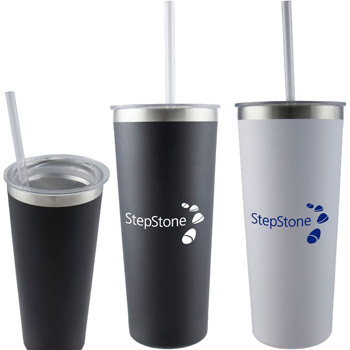23 oz Double Wall Stainless Bottle with Straw